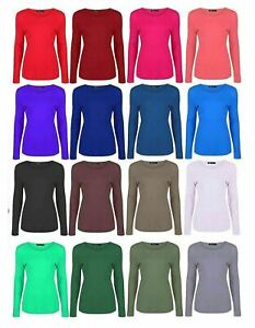 Girls Plain Stretchy Casual Wear T Shirt Childs Long Sleeve Scoop Neck Party Top