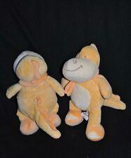 Lot de 2 Peluche Doudou Dragon Dinosaure BENGY Orange Jaune 24 cm Etat NEUF