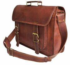 "15"" Handmade Leather Satchel Tan Briefcase Laptop Portfolio Messenger Bag Attach"