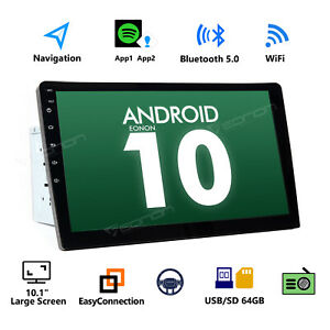 """In Dash Android 10 10"""" GPS Navigation Car Stereo Double Din Auto Radio Bluetooth"""