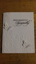 WITH SYMPATHY- Handmade Card, white w/ butterflies, embossed design, Stampin up