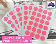 120 Pcs Round Circle Label Sticker Dots Spots Colour Code Medium  Pink 16 mm