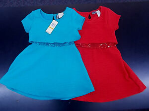 Girls Pogo Club Turquoise or Red Dresses w/ Sequin Waist Sizes 4, 5, 6 & 7/8