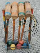 Vintage Wood Croquet Set With Rolling Caddy 6 Mallets 6 Balls 7 Wickets 2 Stakes