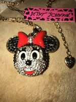 Betsey Johnson Necklace  Gold Red Black MINNIE MOUSE CRYSTALS Gift Box Bag