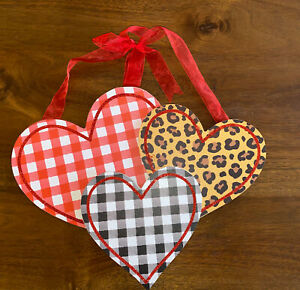 Gingham And Leopard Heart Wood Sign Valentines Day- Wall Hanging- Farmhouse