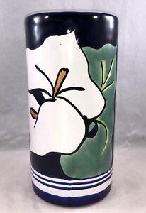 Talavera Mexico Calla Lily Vase Tall Cup Pottery