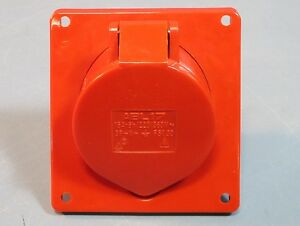 Altech ABL17 16A 6h/220/380V, 5 Pin Wall Mount Straight Receptacle Red NWOB