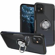 Carbon Fiber Rubber Bumper Magnetic Finger Ring Kickstand Case for iPhone 11