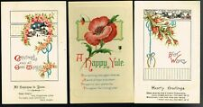 3 x ANTIQUE CHRISTMAS POSTCARDS early 1900s (blank backs)