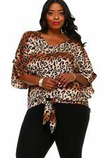 Womens Leopard Animal Print Plus Size 2X Tie Front Top by JAZZ