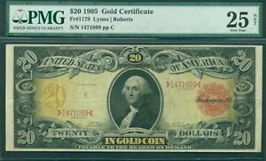 "$20.00 Gold Certificate ""Technicolor Note"", 1905, Fr. #1179, PMG Grade 25VF"