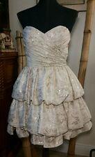 BETSEY JOHNSON Gold Brocade Strapless Tiered Party Dress Sz 8 Ruffles Layers EUC