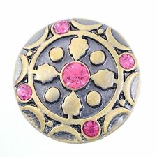 Noosa Chunks Ginger Style Snap Button Charms Gold with Pink Rhinestones  20mm