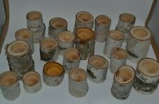 White Birch Reclaimed Wood Lot of 21 Candle Holders Rustic Primitive Wedding