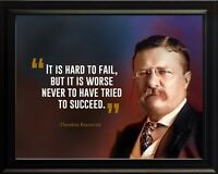 Theodore Roosevelt It Is Hard Poster Print Picture or Framed Wall Art