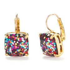 KATE SPADE 12K Gold Plated Square Multi Glitter Drop Earrings W/KS Dust Bag NEW