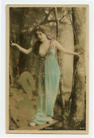 c 1907 French Glamour LONG HAIRED LADY Forest Nymph Beauty Doll photo postcard