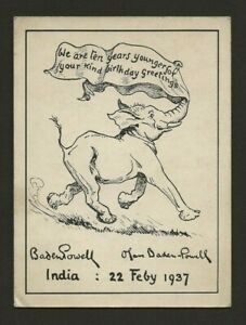 1937 - Boy Scout - Birthday Thanks Card - Baden Powell - India