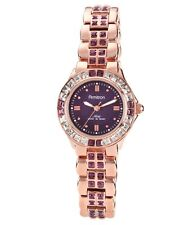 Armitron Womens Amethyst Swarovski Crystal Rose Gold Tone Band Watch 75/3689VMRG