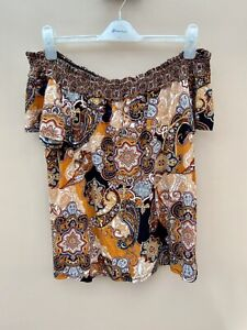 Dorothy Perkins Ladies Bardot Top Blouse Size 18 Next P&P Ditsy Floral Stretch