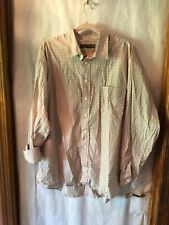 John Henry Mens Tan Brown White Plaid Shirt Long Sleeve Sz XL