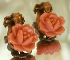 Pretty Vintage 40's Coral Celluloid Rose Flower Clip Earrings 478MY6