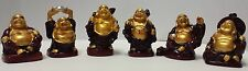 Set of 6 Two Tone Feng Shui Laughing Buddha Statue for Good Luck & Wealth