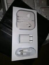 Original Apple iPhone OEM Accessories Earphones, USB Cable, Power Adapter. New!