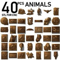 3d stl model cnc router artcam aspire 40 animals panno collection basrelief