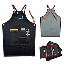 AU Denim Bib Apron Leather Strap Barista Baker Bartender BBQ Chef Work Uniform