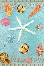 Shell Brocade Nautical Summer Garden Flag Beach Welcome Starfish Decorative
