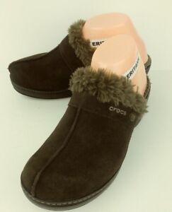 Crocs Womens Shoes 11602 US 8 Brown Suede heels Lined Clogs Croslite 2663