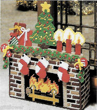 CHRISTMAS EVE FIREPLACE DOORSTOP - VINTAGE PLASTIC CANVAS PATTERNS