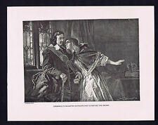 Cromwell's Daughter Entreats him to Refuse the Crown - Historical Print 1894