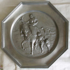 """Pewter Plate 8.5"""", Woman on Horse with Dove, Boy with Hound; Angel in Oval Mark"""