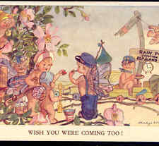 FAIRY RAILROAD CONDUCTOR DIRECTS VACATIONING FAIRIES TO TRAIN,WILLIAMS POSTCARD