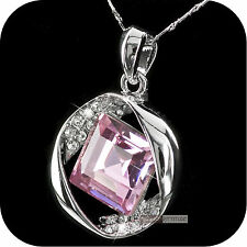 18k white gold made with SWAROVSKI crystal pendant necklace drop pink 6ct