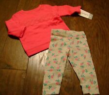 NWT Girls CARTERS Outfit Set HOT PINK Size 3 mos ROSES NEW Shirt Pants SOFT