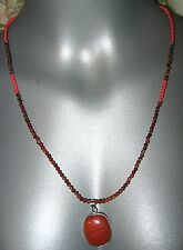 Jasper Agate Coral Red Necklace Small Bead Handcrafted Artisan Silver Accents