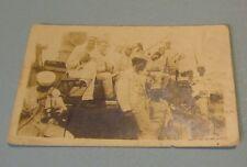 WWI Era US Navy Sailors Playing Music On Board Ship Real Photo Military Postcard
