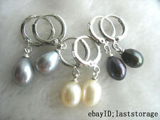 3pairs freshwater pearl white gray black  egg earring wholesale hook nature bead