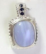 Judith Ripka Blue Lace Agate Sapphire Sterling Silver Pendant Enhancer