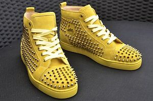 CHRISTIAN LOUBOUTIN Authentic New Suede Mimosa Louis Metallic Spike Sneakers 43
