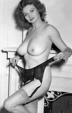 1960s Busty Pinup Nude attaching her Black Garter together 5 x 7 Photograph