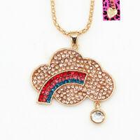 Betsey Johnson Crystal Rhinestone Cloud Rainbow Pendant Sweater Chain Necklace
