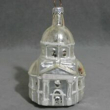 Christmas Ornament Building Glass CHURCH Silver Snow Large 5