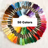 50 Colors Embroidery Thread Hand Cross Stitch Sewing Skeins Craft Home Set Art