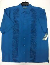 Cubavera Tonal Embroidered Button Shirt Mens Deep Water Blue Rayon Blend Sz L