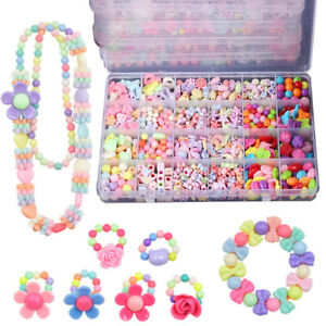 Bracelet Craft Make Own Beads Jewellery Making Set Box Kit For Kids DIY Gifts UK